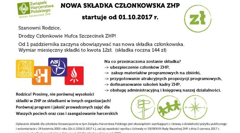 NOWA SKŁADKA CZŁONKOWSKA ZHP startuje od 01.10.2017
